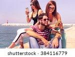 group of travel friends having... | Shutterstock . vector #384116779