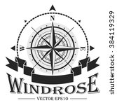 corporate logo with windrose.... | Shutterstock . vector #384119329