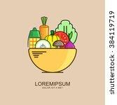 vegetetable salad in bowl .... | Shutterstock .eps vector #384119719