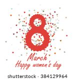 march 8 greeting card. happy... | Shutterstock .eps vector #384129964