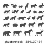Stock vector black silhouettes farm and wild animals on white background vector figure pets icon cow bear 384137434