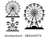 set of silhouettes ferris wheel ... | Shutterstock .eps vector #384144274