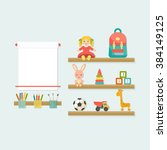 baby toys icons on shelf. place ... | Shutterstock .eps vector #384149125