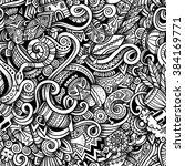 cartoon hand drawn doodles on... | Shutterstock . vector #384169771