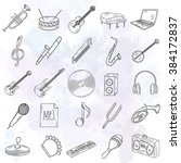 hand drawn musical instruments. | Shutterstock .eps vector #384172837