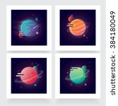four vibrant colorful planets... | Shutterstock .eps vector #384180049