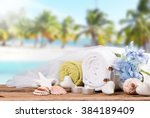 spa and massage setting on wood ...   Shutterstock . vector #384189409