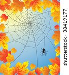 autumn leaves with spider web | Shutterstock . vector #38419177