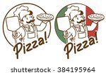 emblem of funny cook or baker... | Shutterstock .eps vector #384195964