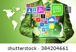 business man using tablet pc... | Shutterstock . vector #384204661