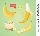 fresh banana fruits  collection ... | Shutterstock .eps vector #384206404