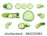 cucumber isolated on the white... | Shutterstock . vector #384220381