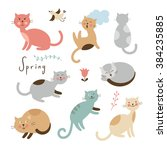 set of vector cute cats.... | Shutterstock .eps vector #384235885