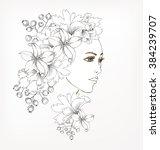 beautiful fashion women with... | Shutterstock .eps vector #384239707