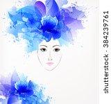 beautiful fashion women with... | Shutterstock .eps vector #384239761