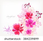 fantasy watercolor vector... | Shutterstock .eps vector #384239899