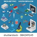 isometric science concept with... | Shutterstock .eps vector #384249145