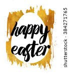 golden happy easter poster for... | Shutterstock . vector #384271765