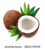 coconuts with leaves on a white ...   Shutterstock . vector #384274939