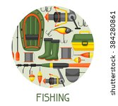 background with fishing... | Shutterstock .eps vector #384280861