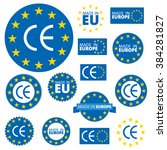 made in european union labels ... | Shutterstock .eps vector #384281827