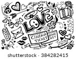 valentines day doodle set with... | Shutterstock . vector #384282415