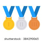 gold  silver and bronze medal... | Shutterstock .eps vector #384290065
