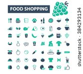 food shopping icons  | Shutterstock .eps vector #384293134
