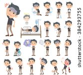 set of various poses of black... | Shutterstock .eps vector #384293755