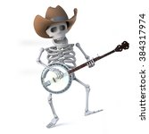 3d Render Of A Cowboy Skeleton...