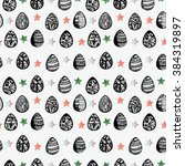 pattern with watercolor easter... | Shutterstock . vector #384319897
