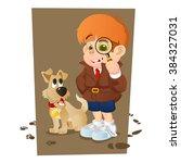 smart young cartoon detective... | Shutterstock .eps vector #384327031