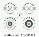 set of vintage mechanic label ... | Shutterstock .eps vector #384336421