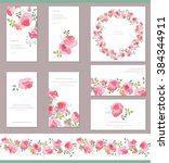 floral templates with cute... | Shutterstock .eps vector #384344911
