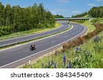 motorcycle driving on the empty ... | Shutterstock . vector #384345409
