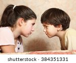 siblings couple brother and... | Shutterstock . vector #384351331