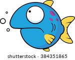Cartoon illustration of a blue fish with a frown.  - stock vector