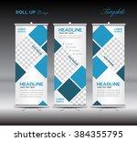 blue roll up banner template... | Shutterstock .eps vector #384355795