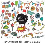 set of colorful party objects...   Shutterstock .eps vector #384361189