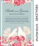 wedding invitation with white... | Shutterstock .eps vector #384374584