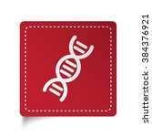 flat dna icon on red sticker | Shutterstock .eps vector #384376921