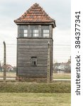 Small photo of historical view of Auschwitz death camp in color
