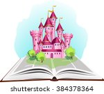 princess tale book with pink... | Shutterstock .eps vector #384378364