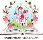 princess tale book in flowering ... | Shutterstock .eps vector #384378394