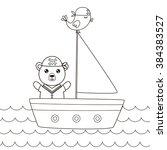 cute sailing bear. children... | Shutterstock .eps vector #384383527