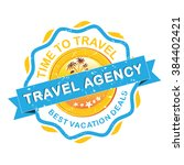 travel agency grunge label.... | Shutterstock .eps vector #384402421