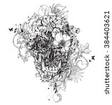 black vector skull with flowers | Shutterstock .eps vector #384403621