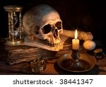 Vintage Skull On Antique Book...