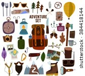 Adventure set-Bright camping equipment in vector. Design illustration of camping and hiking info graphic vector elements - stock vector