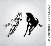 silhouette of the running horses | Shutterstock .eps vector #384421027
